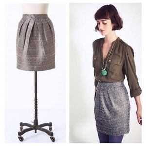 Anthropologie Tabitha Avant Metallic Tweed Skirt